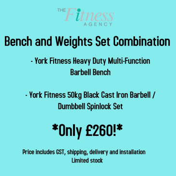 York Fitness Multi-Function Bench and Weights Set Combination