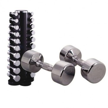 York Barbell Chrome Dumbbell 1-10kg Pairs + Vertical Rack Combo