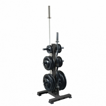 York Barbell Olympic Plate Tree Rack with 2 Olympic Bar Holders