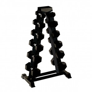 York Barbell 1.25kg - 12.5kg Rubber Hex Club Pack and A Frame Rack