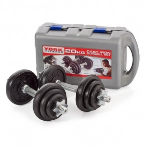 York Fitness 20kg Black Cast Iron Dumbbell Set and Case