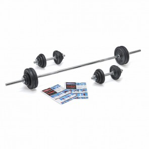 York Fitness 50kg Black Cast Iron Barbell/Dumbbell Spinlock Set